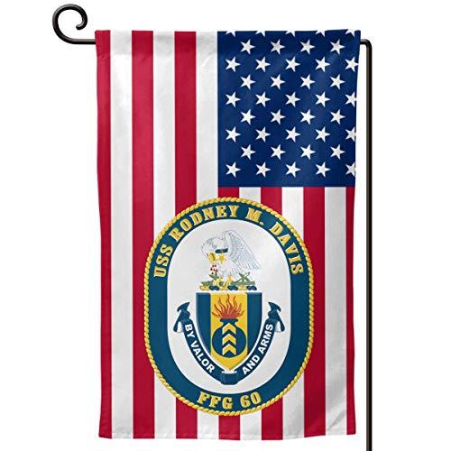 Navy USS Rodney M Davis FFG-60 Decorative Garden Flag Home Decor Yard Banner 12.5X18 Inch Printed Double Sided -