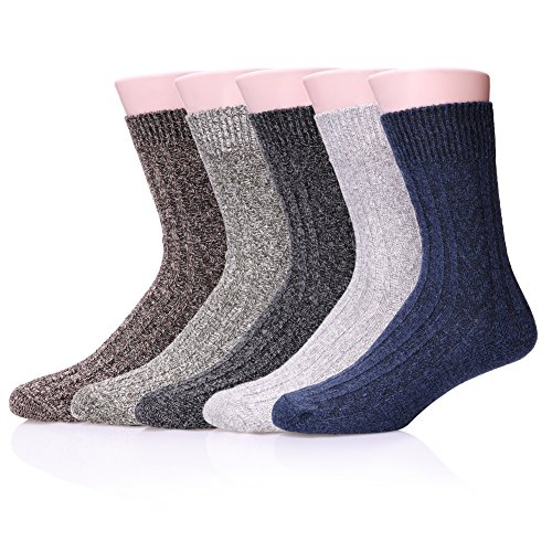 LANLEO 5 Pairs Mens Thick Knit Wool Cotton Warm Soft Casual Crew Winter Socks 5 Pairs Knit B
