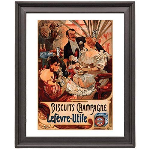 Alphonse Mucha Biscuits - Champagne-Lefevre-Utile - 1896 - Picture Frame 8x10 inches - Poster - Print