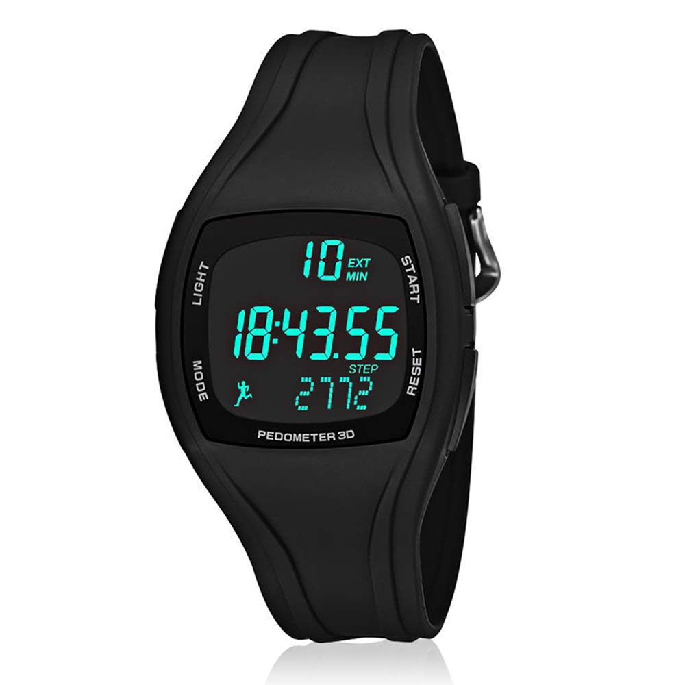 CFGem Adolescent Multi-Functional Sports Digital Watch, Teen's Sports Waterproof Watch with Pedometer/Alarm/Stopwatch Timer, Kid's Outdoor Sports Wristwatch Black
