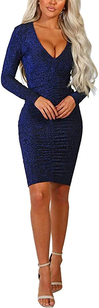 mamak Womens Ruched Deep V Neck Flare Long Sleeve Bodycon Clubwear Party Mini Dress Blue-Large