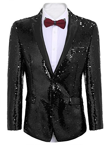 COOFANDY Shiny Sequins Suit Jacket Blazer One Button Tuxedo for Party,Wedding,Banquet,Prom,Nightclub (XXL, Pitch-Black) by COOFANDY
