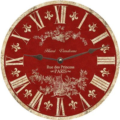 Red Toile Clock (19.5″)