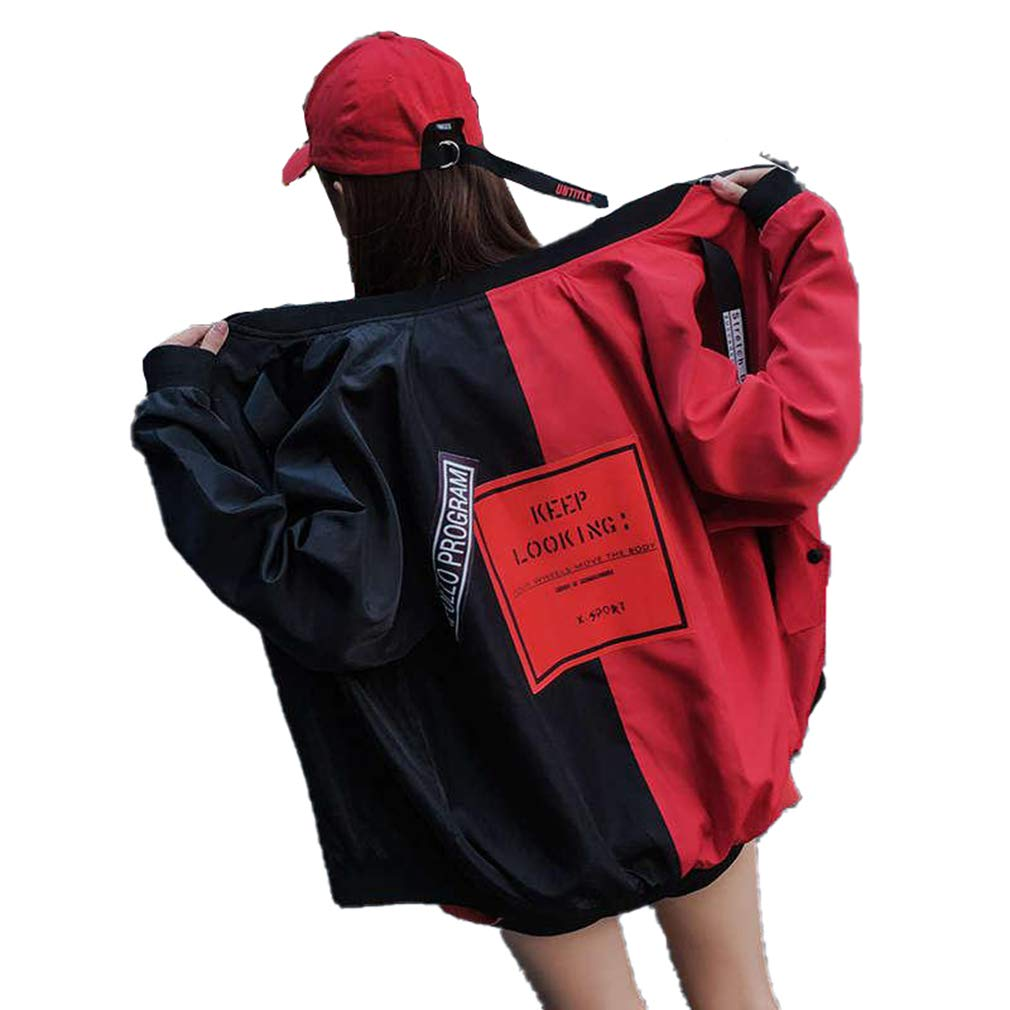 Red Saborz Women Loose Bomber Jacket Fashion Patchwork Female Zipper Coats Windbreaker Outwear