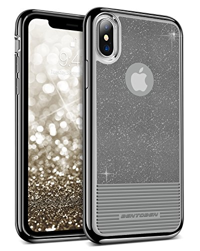iPhone X Case, BENTOBEN Clear Black Glitter Bling Soft TPU Cover Shockproof 2 in1 Hybrid PC Slim [Support Wireless Charging] Protective Phone Case for iPhone X / 10 2017 (5.8 inch), Black
