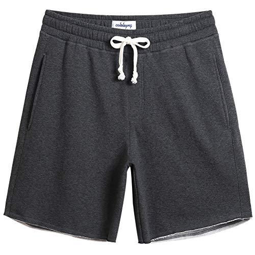 CALOLEYNG Mens Cotton 8″ Long Casual Lounge Fleece Shorts Pockets Jogger Athletic Workout Gym Sweat Shorts