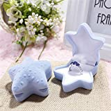 Tuscom Personality and Creativity Gift Young Star Premium Velvet Container for Ring Stud Earrings Marriage Ring Box 6.5 x 6.5 x4cm Jewelry Container (2 Colors) (Blue)