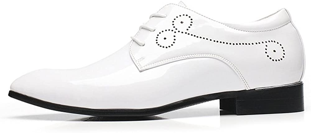 Color : White, Size : 9MUS HYF Mens Burnished Smooth PU Leather Shoes Classic Lace Up Business Tuxedo Oxfords Breathable