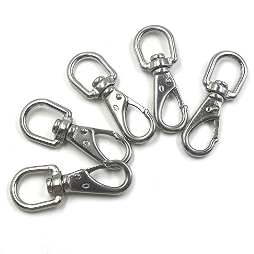 - Swivel Snap Hook, Mergorun Silver 304 Stainless Steel Boat Marine Pet Chains Keychains Swivel Eye Spring Hardware Snap Hook (0# / M4) Pack of 5 (B5)