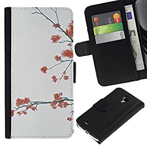 KingStore / Leather Etui en cuir / Samsung Galaxy S4 Mini i9190 / Árboles Gris Naturaleza Otoño