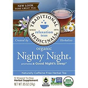 Traditional Medicinals Organic Nighty Night Tea Relaxtion Tea, 16 Tea Bags (Pack of 6)
