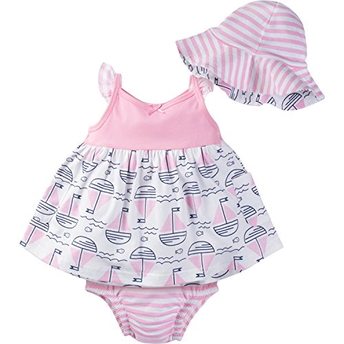 Pink Sailboat - Gerber Baby Girls' Sundress, Bloomer and Hat Set, Sailboats, 24 Months