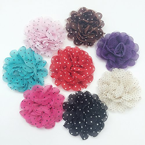PEPPERLONELY 8PC Set 8 Colors Soft Mesh Tulle Polka Dot Artificial Fabric Flowers, 3.5 Inch by PEPPERLONELY