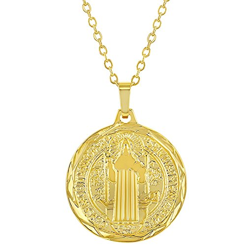 18k Gold Plated Reversible St Benedict Religious Medal Pendant Necklace 19