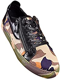 Mens Black Leather Camouflage Fashion Sneakers
