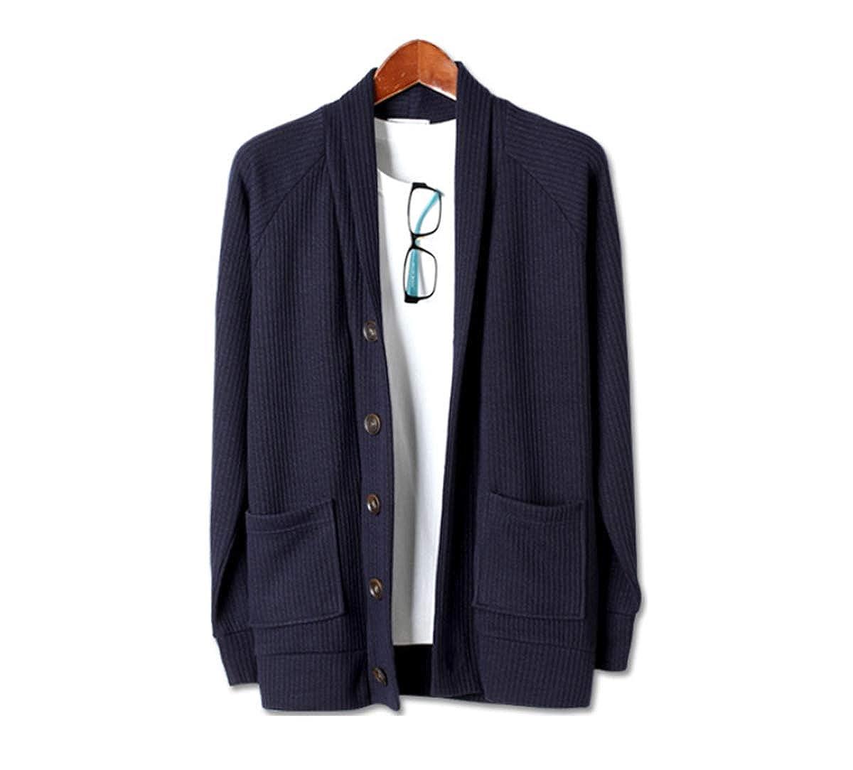 Mens Premium Canyon Shawl Collar Pocket V Neck Button Knit Cardigan Sweater Jumper
