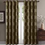 Lexington Green Grommet Jacquard Window Curtain Panels, Pair / Set of 2 Panels, 52×108 inches Each, by Royal Hotel