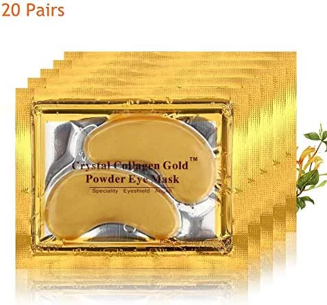 Dancay 20 pairs of Crystal Collagen Under Eye Treatment Mask Pads/Patches, 24K Gold Powder Infused For Anti-Aging & Moisturizing, Reduces Dark Circles, Puffiness, Wrinkles With Pocket Instruction