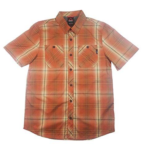 (Gerry Insight Travel Field Short-Sleeve Shirt - Men's (Medium, Box Orange Plaid))
