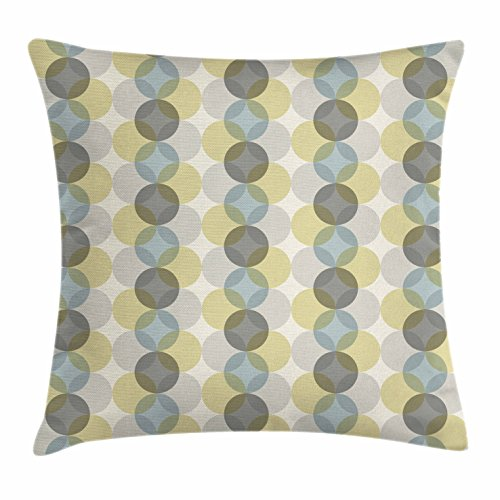 Circle Throw Pillow Cushion Cover by Lunarable, Flower of Life Design Vintage Fifties Midcentury Atomic Art Movement Inspired, Decorative Square Accent Pillow Case, Grey Sephia Beige 51Bv3 2BqX 2BRL