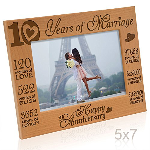 Kate Posh - Our 10th Wedding Anniversary Picture Frame, 10th Anniversary Gifts, 10 Years Anniversary, 10 Years of Marriage, 120 Months of Love - Engraved Natural Wood Picture Frame (5x7-Horizontal)