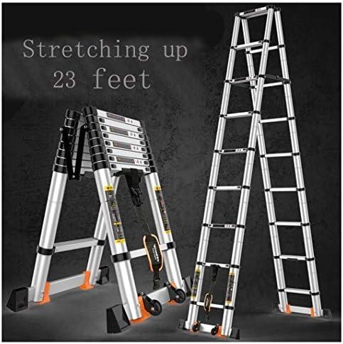 Escalera telescópica profesional plegable de aluminio multiusos telescópica de 20 pies con bloqueo de resorte: Amazon.es: Bricolaje y herramientas