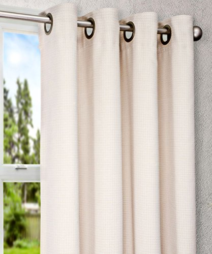 Natural Lined Curtains - Ellis Curtain Landis Mini Check Textured Weave Grommet Top Lined Curtain Panel, 52 by 63-Inch, Natural
