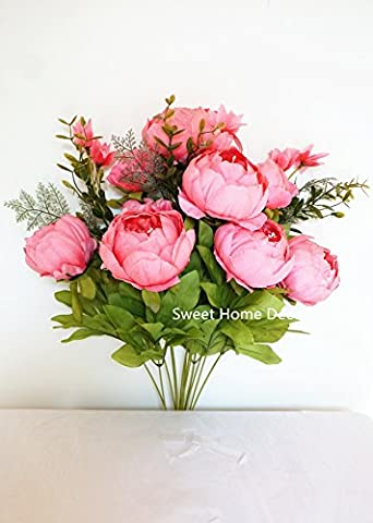 Sweet Home Deco 18'' Super Soft Blooming Peonies and Hydrangeas Silk Artificial Bouquet (13 Stems/6 Flower Heads) - 13 Stems