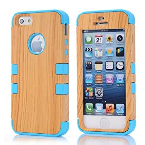 Dual Layer Wood Pattern High Impact Shock Absorbing Hybrid Armor Defender Case Combo for Apple iPhone 5/5S + Free Screen Protector (Blue)