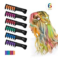 Maydear Temporary Hair Chalk Comb-Non Toxic Washable Hair Color Comb for Hair Dye-Safe for Kids for Party Cosplay DIY (6 Colors)