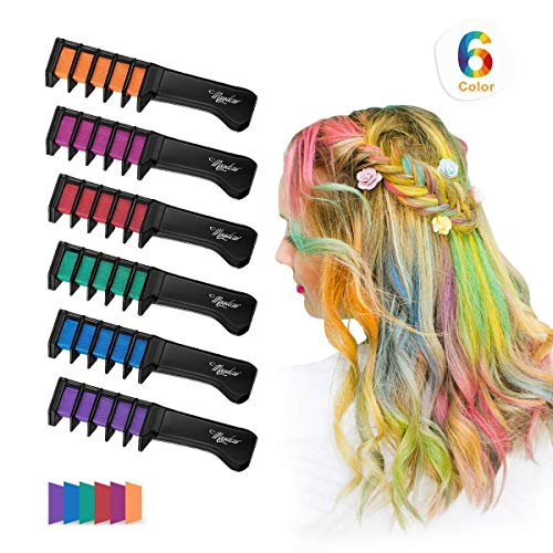 Maydear Temporary Hair Chalk Comb-Non Toxic Washable Hair Color Comb for Hair Dye-Safe for Kids for Party Cosplay DIY (6 Colors) ()