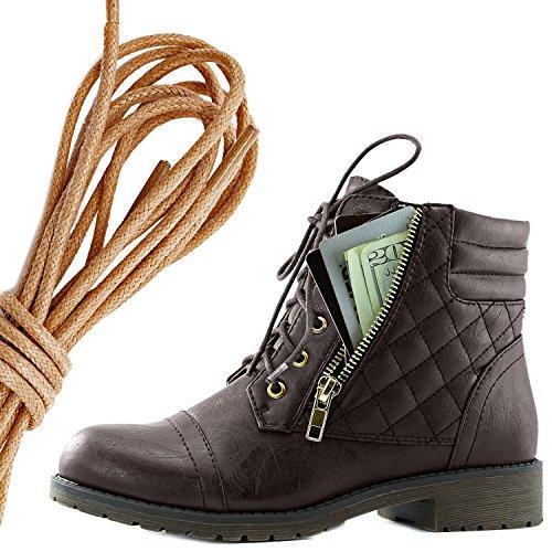 Dailyshoes Kvinners Militære Snøring Spenne Combat Boots Ankelen Høyt Eksklusivt Kredittkort Lomme, Brun Brun Pu