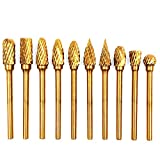 """WHISTECK Titanium Carbide Rotary Burr Set - 10pcs Double Cut Tungsten Steel Die Grinder Bits, 3mm(1/8"""") Shank and 6mm(1/4"""") Head Size for Woodworking, Drilling, Metal Craving, Engraving, Polishing…"""