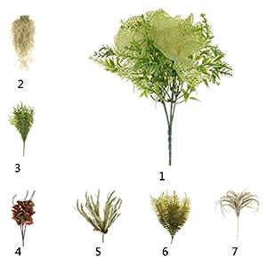 Homyl Bunch Artificial Plants Seaweed Garden Wedding Decor Phalaenopsis/Vine/ Persian Grass/Perilla Leaves/Staghorn Fern/Sago Cycas Leaves/Air Grass 5