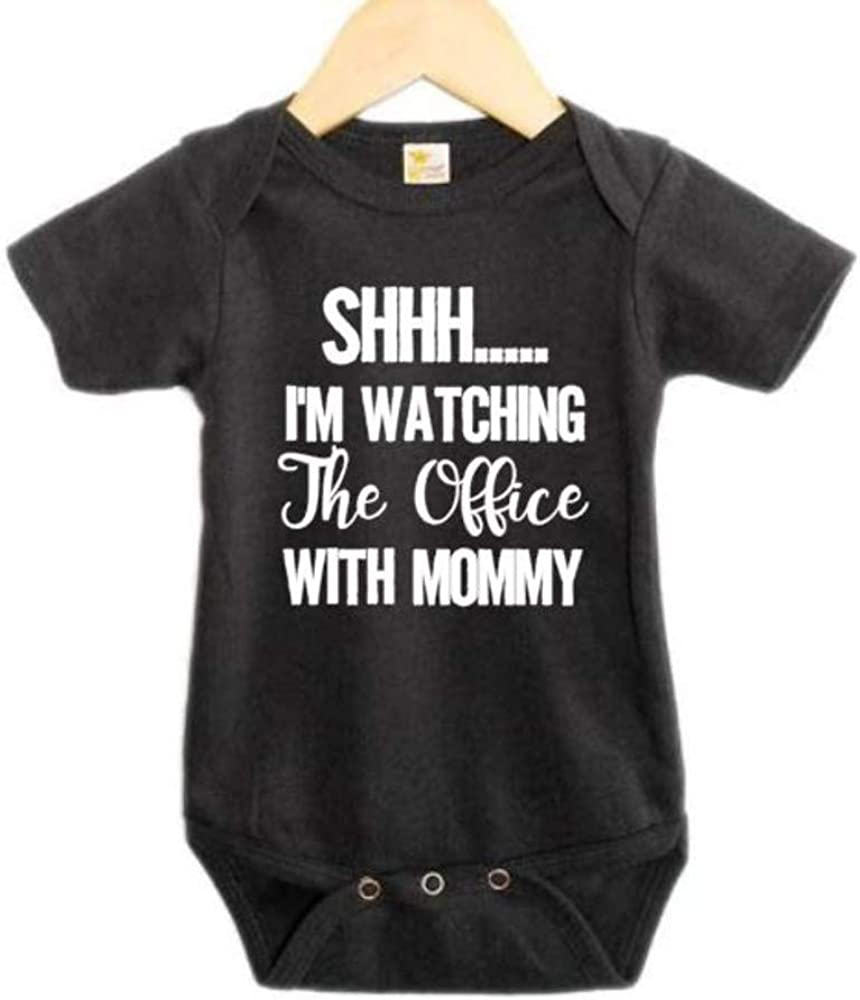 Ebenezer Fire Shh I'm Watching The Office with Mommy/Funny Baby Onesie/Newborn Outfit