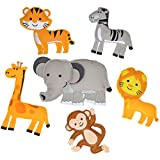 Kids Teepee Decorations, Stuffed Jungle Animals Set, Embroidered and Hand Assembled Magnetic Animal Figures, Great for Party Decorations, Nursery and Baby Boy Room Decor, or Felt Board Pieces (Jungle)