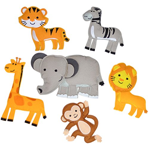 Kids Teepee Decorations, Stuffed Jungle Animals Set, Embroidered and Hand Assembled Magnetic Animal Figures, Great for Party Decorations, Nursery and Baby Boy Room Decor, or Felt Board Pieces (Jungle) by A Mustard Seed Toys