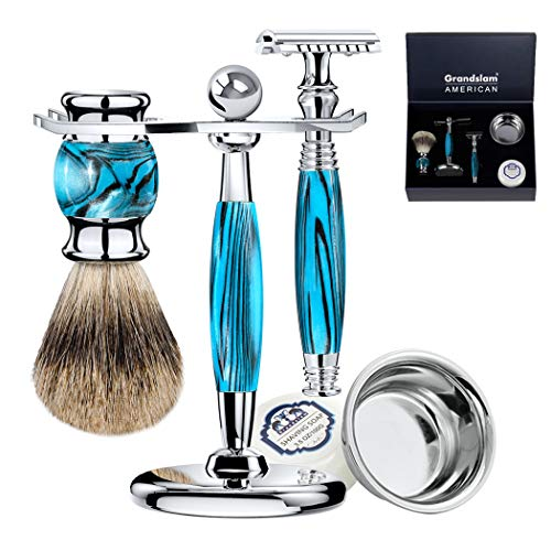 Luxury Shaving Gift Set Safety Razor Shaving Brush Stand for Men Grooming Set for Father's Day/Business Gift/Boyfriend/Husband Grandslam, Silver