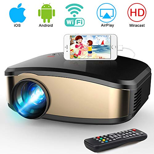 WiFi Projector, iBosi Cheng Portable Mini LCD Video Projector Full HD 1080P LED Home Theater Projector with HDMI/ USB/ VGA/ AV Input for Smartphones PC Laptop Gaming Devices