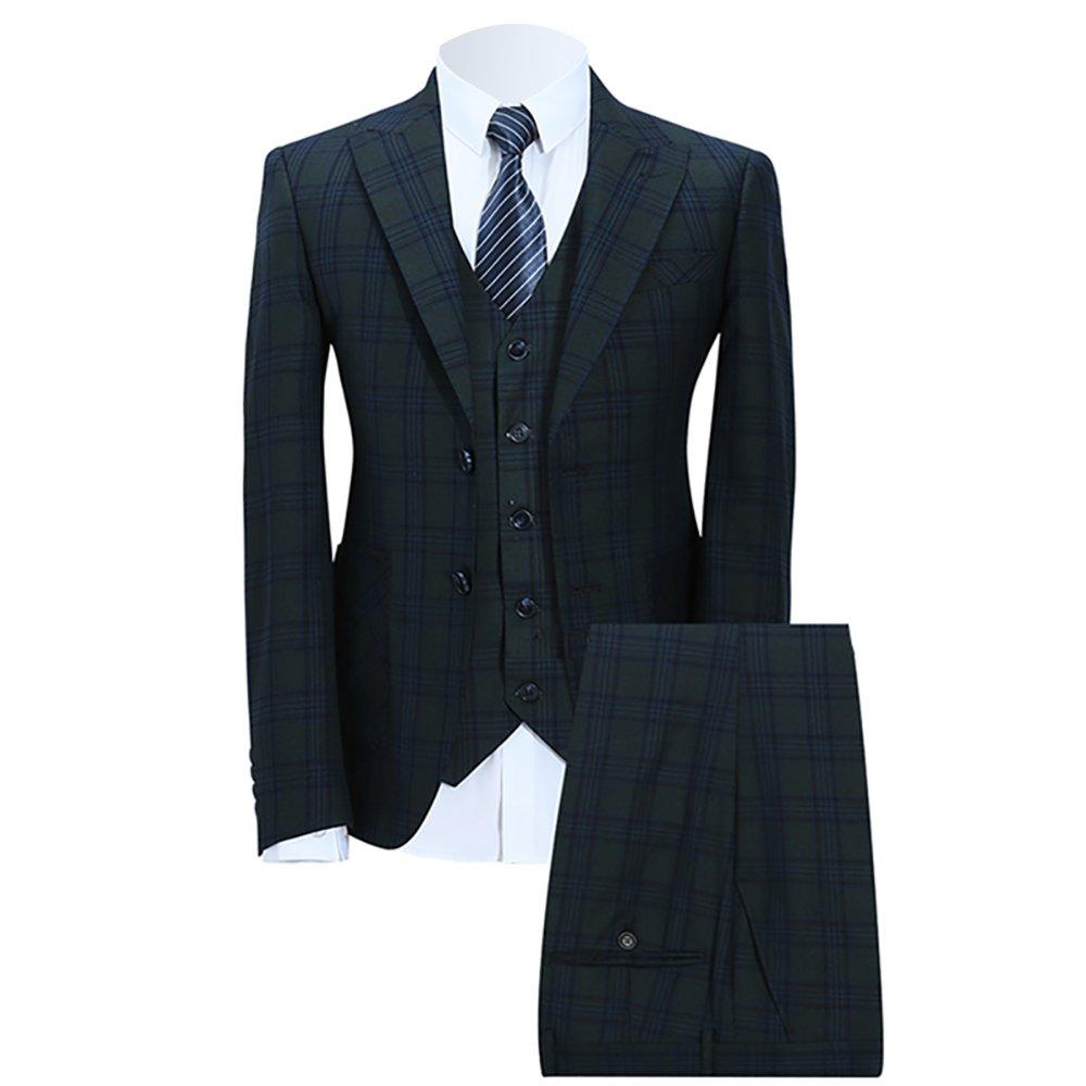 WEEN CHARM(ウィンチャーム)スーツ メンズ スリム スリーピースセットアップ カジュアル ビジネス B075L53C2Q L|グリーン01 グリーン01 L