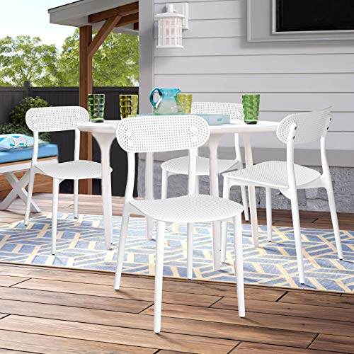 HOMY CASA Set of 4 Dining Chairs,Hollow Out Leisure Coffee Chair Stool for Dining Room Living Room, Indoor Outdoor (White)