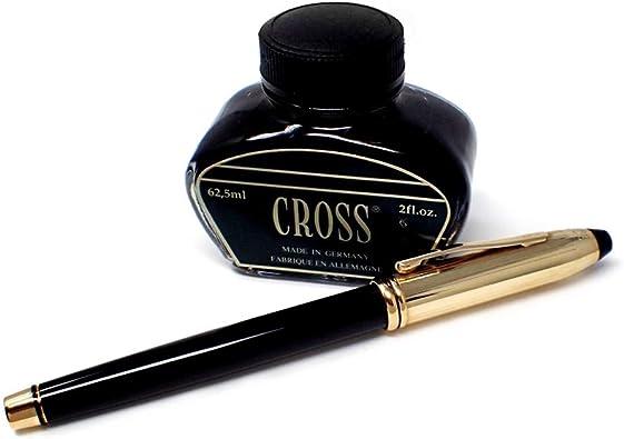 Estuche Pluma Cross Chapada Oro Capuchón Terminación Dorado Lacado Negro Incluye Tinta: Amazon.es: Joyería