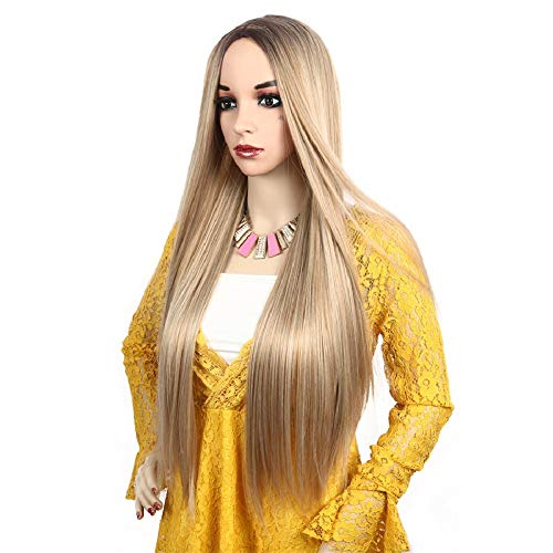Light Blonde Hair Wig - Fashion Women's Highlight Silk Straight Light Blonde Mix Color Wigs for Girl Heat Friendly Synthetic Party Cosplay Hair Wigs for Women