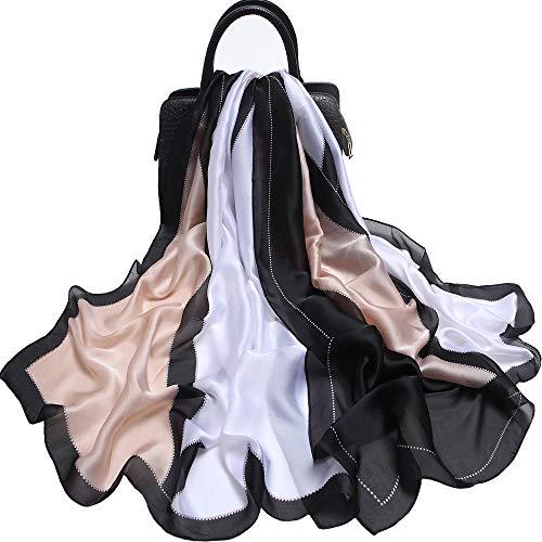 Silk Like Scarf Large Satin Headscarf Fashion Geometric Pattern Wrap Neck Scarves for Women 70