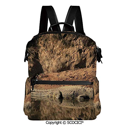 SCOCICI Medium Backpack for School&Travel,Nile Swimming in the River Rock Cliffs Tanzania Geography,L11.4xW6.3xH15 Inches