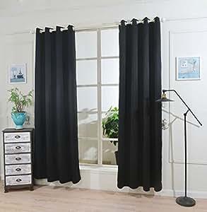 Ihomeworld One Panel Package Grommet Blackout Curtains for Bedroom (1.4Wx2.2L, Black)