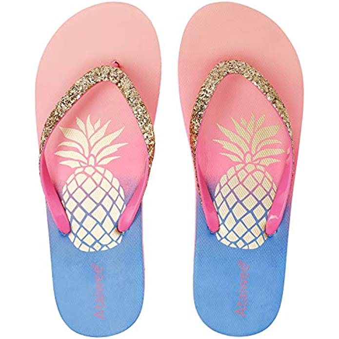 Ataiwee Girl's Flip Flops, Kid's Slip On Beach Thong Sandals with Mermaid Turtle Fruit Printed for Younger Older Children.