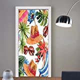 Niasjnfu Chen custom made 3d door stickers Watercolor Decor Tropic Summer Holiday Beach Themed Travel Charm Coctails Hats Sunglasses Print Multi For Room Decor 30x79