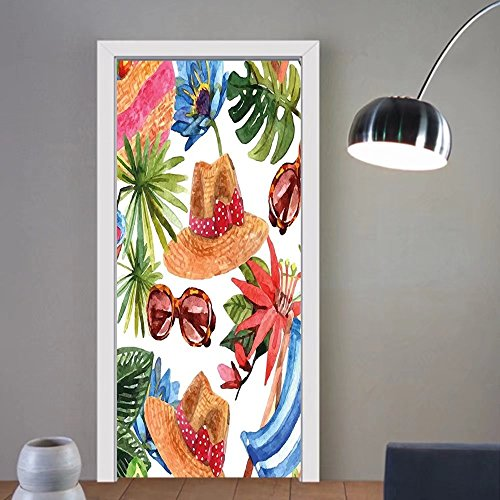 Niasjnfu Chen custom made 3d door stickers Watercolor Decor Tropic Summer Holiday Beach Themed Travel Charm Coctails Hats Sunglasses Print Multi For Room Decor 30x79 by Niasjnfu Chen