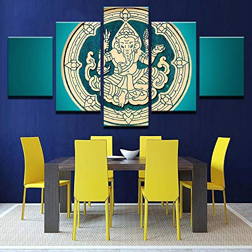 PEACOCK JEWELS [Large] Premium Quality Canvas Printed Wall Art Poster 5 Pieces / 5 Pannel Wall Decor Ganesh Wood Carving Painting, Home Decor Pictures - - Ganesh Carving